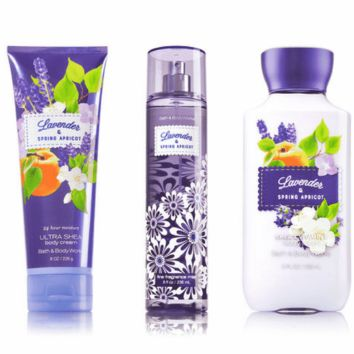 Lavender & Spring Apricot Body Lotion, Body Cream & Fragrance Mist Pack of 3