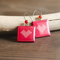 Heart Earrings - Cross Stitch Heart - Dangle - red white earrings - Valentine's Day