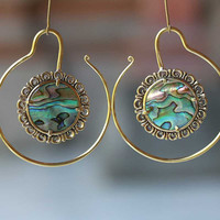 Brass hoops earrings or weights with abalone shell,  wearable size is 2 mm