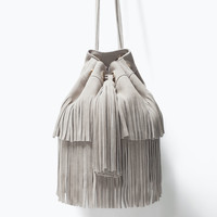 Leather bucket bag with fringe