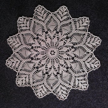 Round Beige Doily, Crochet Tablecloth, Lovely Gift, Home Decor, Ready to Ship