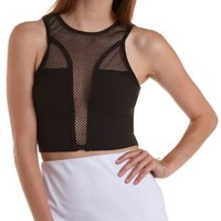 Black Netted Mesh Racer Front Crop Top by Charlotte Russe
