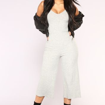 London Culotte Jumpsuit - Heather Grey