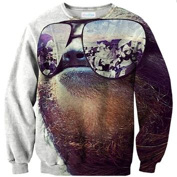 Sloth Money On My Mind Graphic Print Unisex Pullover Sweatshirt Sweater | Gifts for Animal Lovers