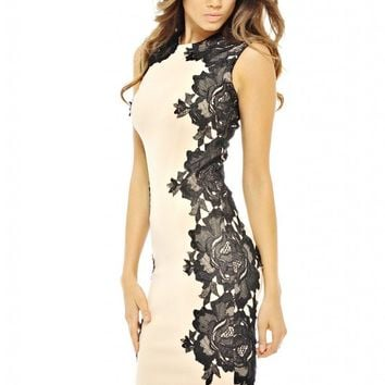 AX Paris Lace Crochet Side Midi Dress(Beige Black, Size:6)