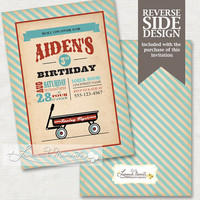Little Red Wagon Birthday Invitation - Printable Invitation