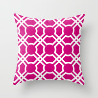 Moroccan Lattice in Merlot Throw Pillow by House of Jennifer