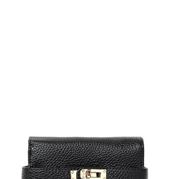 Buckle Detail Mini Purse in Black