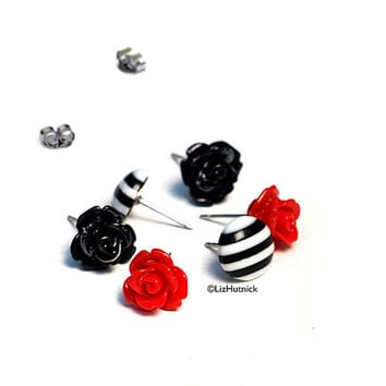 Bella. Red and Black Rosette Stud Earrings. Black and White Striped Lozenge Posts.