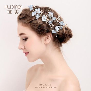 elegant Gold color blue flower Hair Comb+Hairpins Crystal Hair Jewelry festival Gifts Bride Hair pins Wedding Bridal Accessories