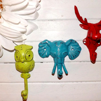 Moose / Owl / Elephant Wall Hook / Cast Iron Hook / Nursery