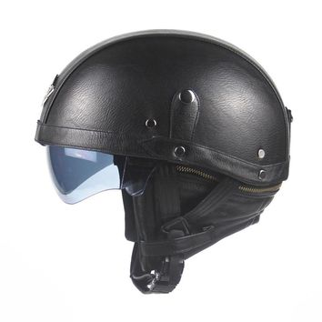 Motorcycle Motorbike Rider Half Open Face PU Leather Helmet Visor With Collar Leather vintage Motorcycle Motorbike Vespa