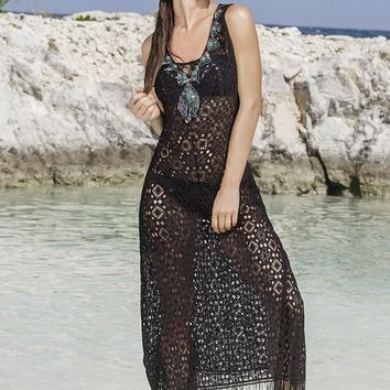 Paradizia Believe Black Fringe Cover Up