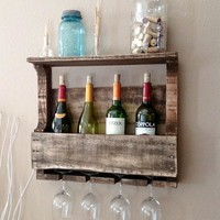 Small Reclaimed Wood Wine Rack with Shelf - Rustic