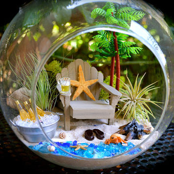 "Bonfire Beach Terrarium Kit ~ 8"" Air Plant Terrarium Kit ~ Adirondack chair + Bonfire ~ Cooler with drinks ~ Father's day gift idea"