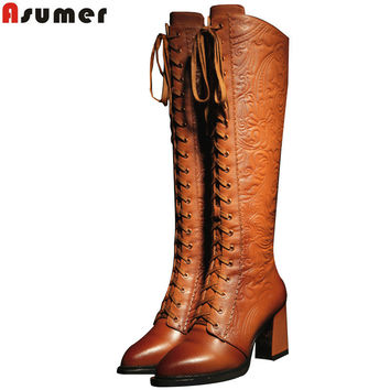 ASUMER women boots high heels pu+ genuine leather motorcycle boots women lace up knee high boots winter shoes