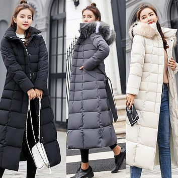Thick Down Big Fur Hooded Cotton Long Coat
