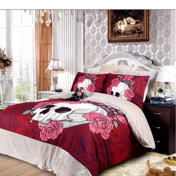 Free shipping 4pcs cotton Pink skull bedding set