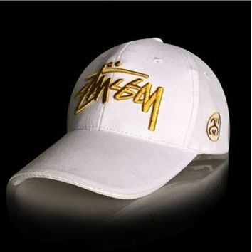 ONETOW Stussy men baseball cap twill embroidery cap White