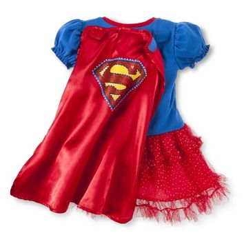 Supergirl Infant Toddler Girls' Cap Sleeve Dress with Cape - Red/Blue