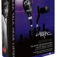 Section8 RBS8490 Tupac Shakur Signature Series In-Ear Headphones with Built-In Mic and In-Line Remote Control - Black/Gray