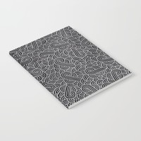 Black and faux silver swirls doodles Notebook by Savousepate