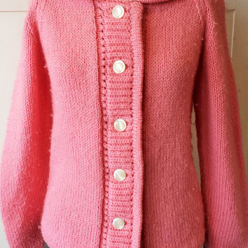 Vintage 1960s Pink Cardigan Sweater