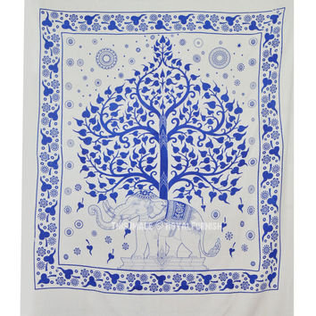 Blue  White Elephant Tree Wall Tapestry, Cotton Fringed Tapestry Bedding on RoyalFurnish.com