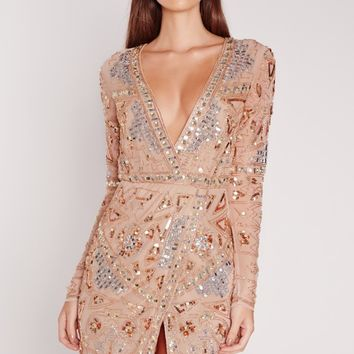 Missguided - Premium Long Sleeve Embellished Wrap Mini Dress Gold