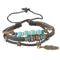 Leather Boho Bracelet Natural Wood And Turquoise Beads Antiqued Brass Feather Charm Black Cowhide Beaded Multiple Bangle Set