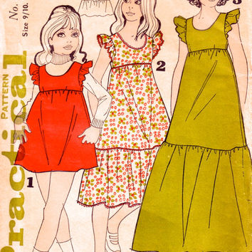 Girl's dress pattern / Vintage sewing supplies / Practical Pattern 6827 / Short, midi or maxi peasant dress.