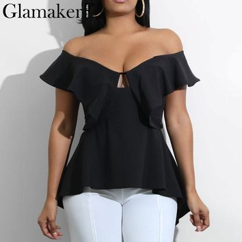 Glamaker Ruffle split deep v neck summer blouse shirt Backless off shoulder women blouses Evening party sexy casual shirt  top