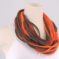 Cleveland Browns Brown Orange women OOAK lightweight Infinity scarf Loop Circle Noodle Scarf Necklace jersey T shirt strand