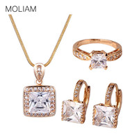 MOLIAM Necklace Sets for Women Gold-Color Cubic Zirconia Crystal Earring Pendant Necklace and Ring Sets E302e+P004a+R115