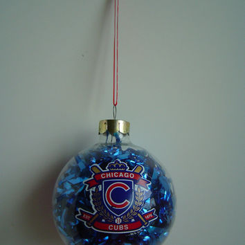 Vintage Christmas Chicago Cubs Glass Ornament