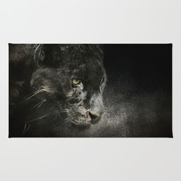 Out of the Shadows - Wildlife - Black Leopard  Area & Throw Rug by Jai Johnson