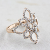 Lotus Flower Ring, Rose Gold Engagement Ring, 0.5 CT Diamond Ring, Cluster Ring, Art Deco Enagement Ring, Lace Ring