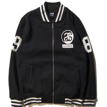 Stussy Print Unisex Lover's Zipper Jacket  Baseball Coat