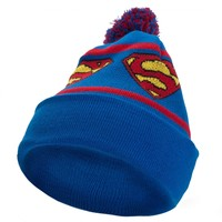 Superman - Repeat Logo Pom Pom Knit Hat