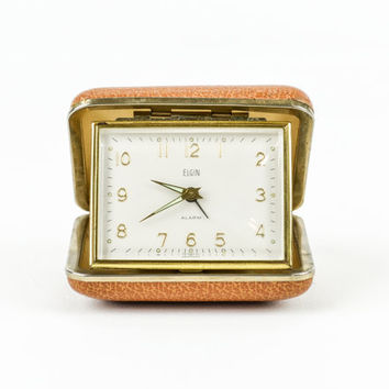 Vintage Elgin Travel Alarm Clock Mad Men Style