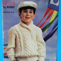 Nomis Knitting Pattern Knit Fishermans For Kids Aran Pullover Sweater 4 to 14