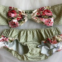 polka dot and floral bow bandeau set Made to order by amourouse