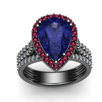 Diamond Engagement Ring With Pink Sapphire Halo 14K Black Gold with 10x8mm Pear Shape Blue Sapphire Center - V1089