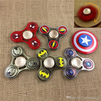 2017 New The Avengers Super Heroes Metal Fidget Hand Spinner Zinc alloy Captain America Fidget Spinner With Blister Packing
