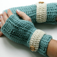 Blue Fingerless gloves hand warmers crochet in dusty blue off white beige ecru strap and wood buttons