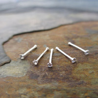 Sale!!! Lot of 5 All Clear CZ Sterling Silver Nose Ring Bone Studs 18 Gauge 18G (.81mm) with Tiny 1.5mm CZ Gems