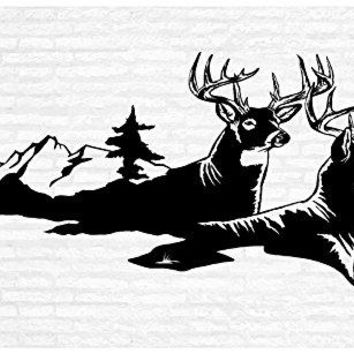 Two Deer Bucks Man Cave Animal Rustic Cabin Lodge Mountains Hunting Vinyl Wall Art Sticker Decal Graphic Home Decor