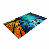 "Mandie Manzano ""Sea Dance"" Blue Orange Woven Area Rug"