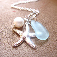 Seafoam beachglass Necklace with Starfish & fresh water pearl - FREE SHIPPING