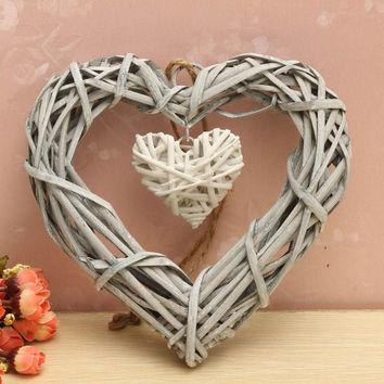 Wicker Hanging Heart In Grey White Wreath Color Rattan Sepak Takraw Wedding Supplies Home Party Decoration for Valentine's Love
